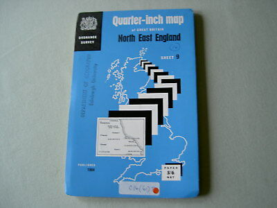Ordnance Survey OS Quarter-Inch Map Sheet 9: North East England 1964