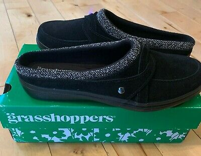 Grasshoppers Women's Cruise Mule Suede Clog Shoes Size 7.5 Black New in Box