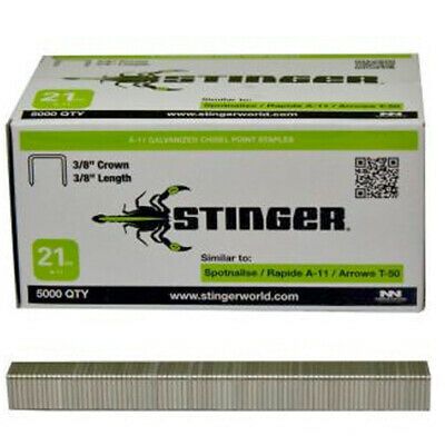 "STINGER 940042 Staples 3/8"" Length 3/8"" Crown 21Ga A-11/T-50 5000ct"