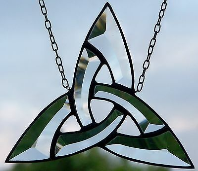 Leaded Glass Window Image Suncatcher Celtic Triangle Knot in Tiffany