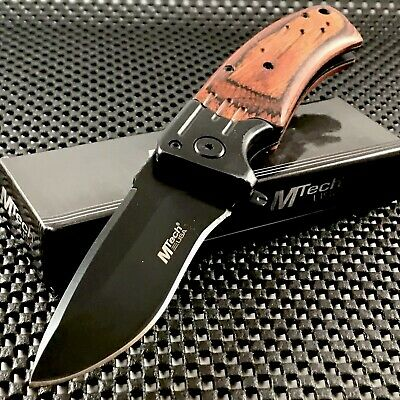 "MTECH USA 8"" Wood Handle Assisted Open Tactical Folding Pocket Knife EDC Open"