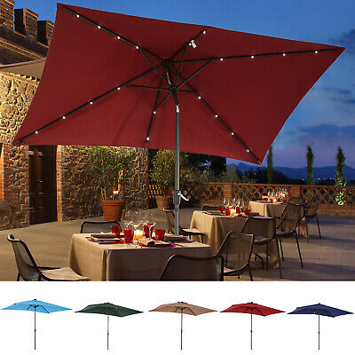 Sun Umbrella Patio Parasol Solar LED Lit Outdoor Shelter Garden Shade 5 Colors