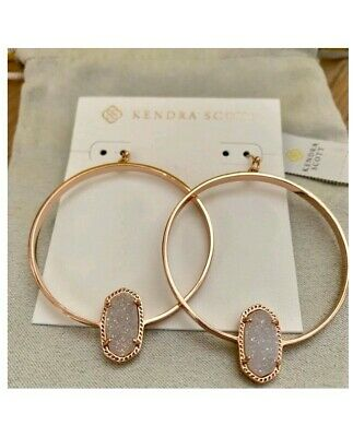5c82a71cce20f KENDRA SCOTT VAL Crystal Hoop Earrings ROSE GOLD New In Pouch NWOT ...
