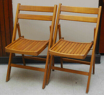 Pair 2 Vintage Mid Century Modern Wooden Slat Folding Chairs Poland #1