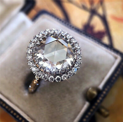Luxury Huge Round White Sapphire Halo Engagement Ring 925 Silver Jewelry Wedding