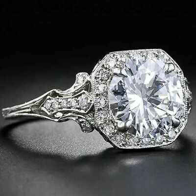 925 Silver 2.6 CT White Topaz Women Jewelry Wedding Engagement Party Ring Sz6-10