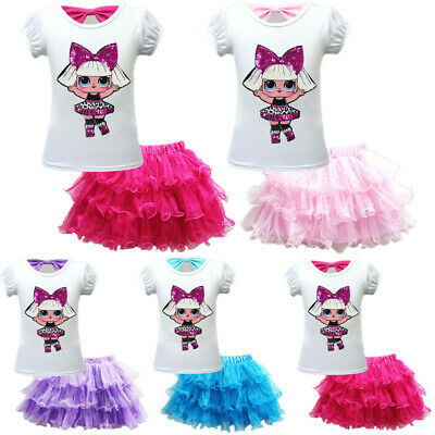 Kids Girls Lol Surprise Dolls Birthday Dress T Shirt + Tiered Tutu Skirts Outfit