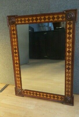 Stunning ANTIQUE french MIRROR inlaid with PARQUETRY  mahogany and  FRUITWOOD