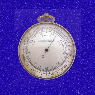 Stunning Gilt Brass Cased Aneroid  Pocket Watch Barometer Altimeter 1870 & Case