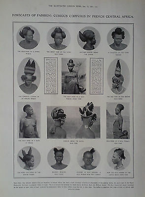 1907 Print Curious French Central Africa Coiffures- Railroad Surveying In Canada