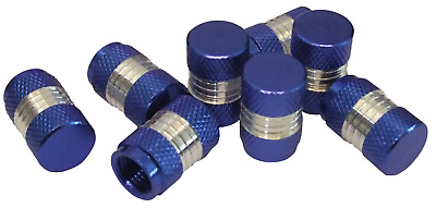 2 x Packs Of 4 Top Quality Round Blue And Silver Metal Tyre Valve Dust Caps