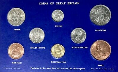 GREAT BRITAIN - (8) Coin Pre-Decimal Type Set on a Display Card - 1964