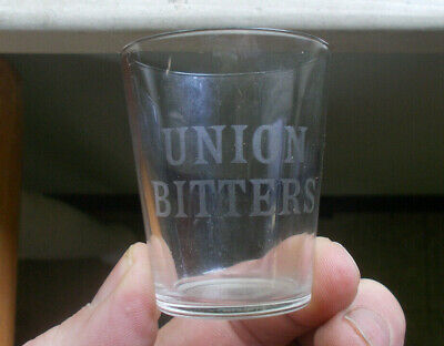 Short Variant Union Bitters Etched Shot Glass With No Dose Measurements