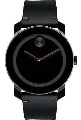 9bbdd62b5 Movado Bold Swiss Black Museum Dial Black Leather Unisex Watch 3600306 SD