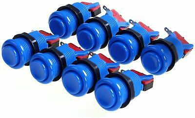 ** 8x HAPP Style Arcade Push Buttons w/ Micro Switches - BLUE - Mame - Jamma **