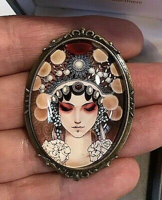Gorgeous Art Deco Lady With Ethnic Headdress Vtg Effect Cameo Costume Brooch  BN