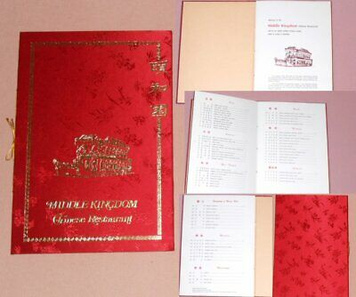 THE MIDDLE KINGDOM -VINTAGE 1970's Chinese Menu Melbourne RED SILK GOLD EMBOSSED