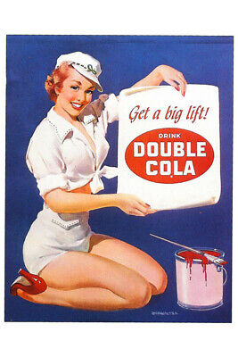 Vintage Fridge Toolbox Magnet (2x3) Classic Pin-Up Girl Double Cola Paint Sign