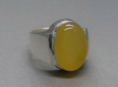 Women Yellow Agate Ring Sterling Silver 925 Zard Aqeeq Ring Handmade Onyx Ring