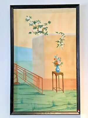 "ART DECO Antique CHINESE Palace Mural PAINTING HAND PAINTED Scroll #1 39"" X 61"""