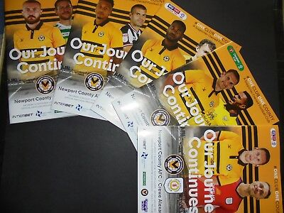 Newport County 2018/19 Home Programmes Choose From
