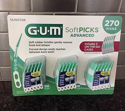 New 270 Count Sunstar GUM Soft-Picks Advanced with 3 On The Go Cases Included