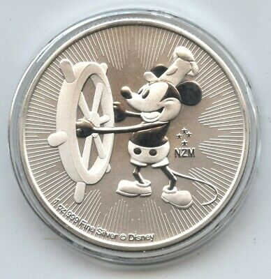 Steamboat Willie 2017 Mickey Mouse .999 Silver Coin 1 oz Niue $2 Disney - BA862