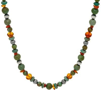 """American West Sterling Silver Amber & Green Turquoise Bead 17"""" Necklace Qvc $149"""