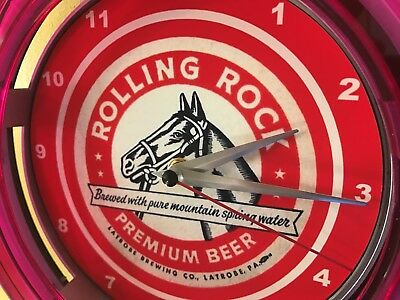 Rolling Rock Beer Bar Advertising Man Cave Neon Wall Clock Sign