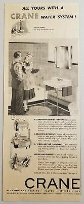 1950 Print Ad Crane Water System Plumbing Happy Lady with New Bathroom