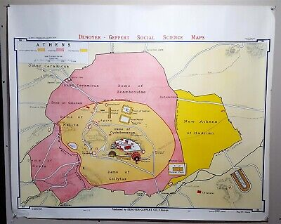 Denoyer-Geppert School Wall Map Ancient Athens B8 1967, 44 x 36""