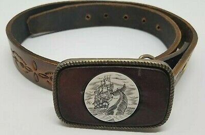 Vtg Scrimshaw Brass Buckle & Tooled Leather Belt Sailing Ship & Whale Signed Dan