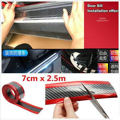 7cm x 2.5m Red Rubber Car Body Side Door Bumper Pedal Edge Protector Strips