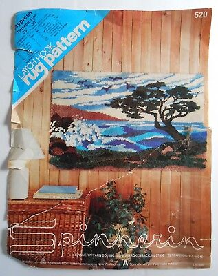 """Spinnerin Latch Hook Rug Pattern 520 Partially Stitched Large 36"""" x 58"""" Cypress"""