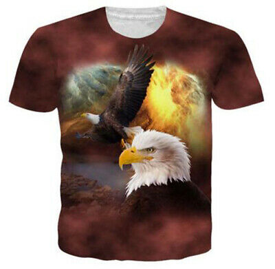 Fashion Women Men TShirt 3D Print Bald Eagle Soaring Short Sleeve Tees Oversized