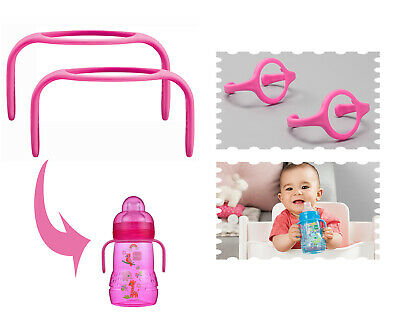 MAM Hold My Bottle Handles for Use with MAM Bottles and Trainer Bottle Pink NEW