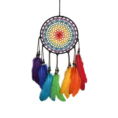 Rainbow Dream Catcher With Color Feathers Hand Made Decorations Ships FREE In US