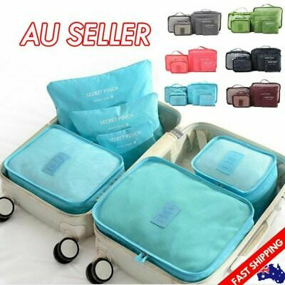 6PCS Travel Luggage Organiser Cube Clothes Storage Pouch Suitcase Packing Bags F