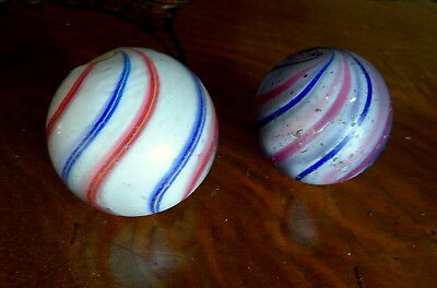 Pair of Rare Antique Large Swirling German Marbles Old Trade Beads 1800's