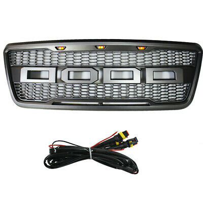 Front Hood Grille For 2004-2008 05 F150 F-150 Raptor Style Conversion W/ F&R+LED