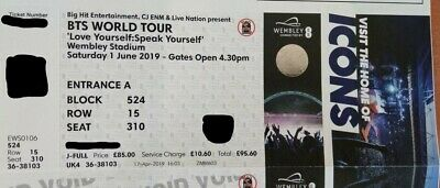 BTS LY Speak Yourself / London 01.06.19 Ticket