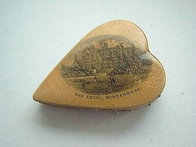 ANTIQUE HEART SHAPED PIN CUSHION - MAUCHLINE WARE - WINDERMERE LAKE - 6 x 4 cms