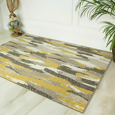 Ochre Yellow And Grey Abstract Rug Artistic Paintstrokes Soft Living Room Rugs
