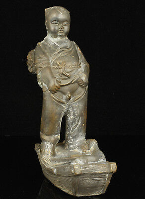 China Collectible Handwork Carving Bronze Rare Child Statue Desktop decoration