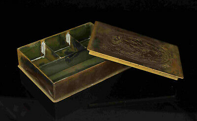 China Old Collect Hand-Embossment Phenix Excellent  Bronze Ink Box