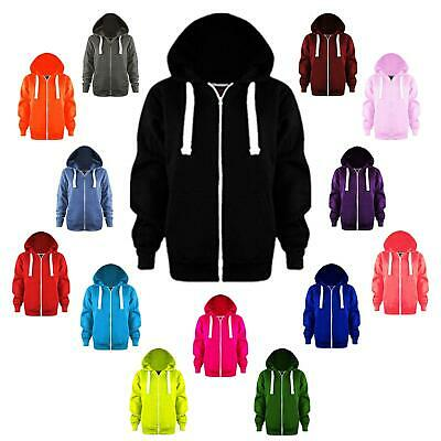 Boys Girls Plain Colour Hoodie Kids Pocket Zip Hooded Jacket Fleece Jumper Tops