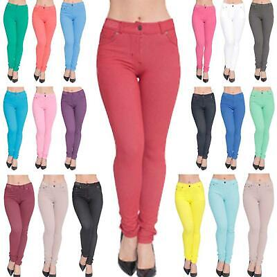 Ladies Womens Skinny Coloured Stretch Jeggings High Waisted Jeans Trouser Pants