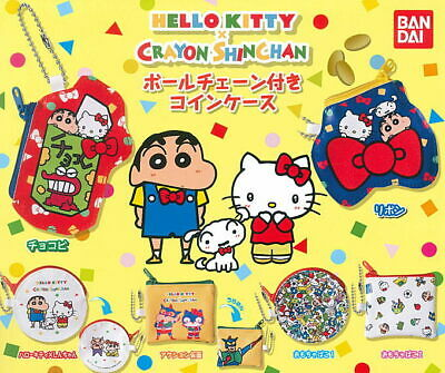e7c2d7e51 Bandai Gashapon Capsule Sanrio Hello Kitty X Crayon Shin Chan Coin Case  Full Set