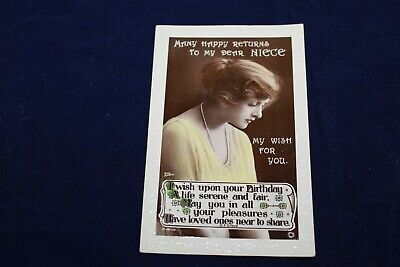 Antique Rotary Photo Many Happy Reurns My Dear Niece Rp Postcard Used Unposted
