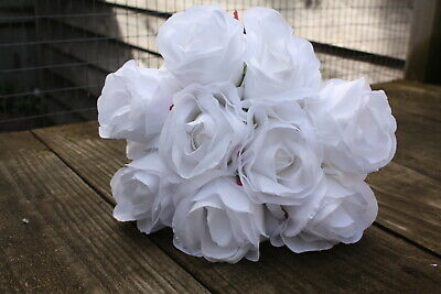 9 x PURE WHITE SILK ROSES 7cm TIED BUNCH / SMALL BOUQUET